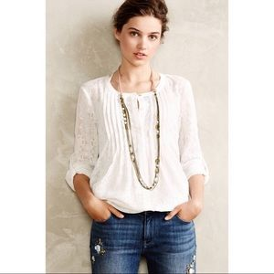 NEW Anthropologie Meadow Rue White Willow Blouse L